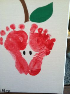 Apple print made out of footprints