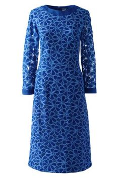 Women's+3/4+Sleeve+Eyelet+Shift+Dress+from+Lands'+End