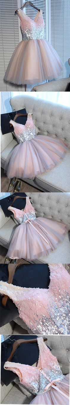 2017 Homecoming Dress,Sexy Homecoming Dresses,A-line Homecoming Dress,Short Prom Dress,Pink Party Dresses,Tulle Homecoming Dress,Sequined Prom Dress,Homecoming Dress,GR5E