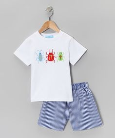 Take a look at this White Bug Tee & Blue Stripe Shorts - Infant & Toddler by Monday's Child on #zulily today!
