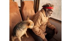 """Senior lawman and artist Ned Grant shares a front seat with a camp dog for the bus ride to camp. From """"The Pila Nguru People,"""" Australian Geographic, Issue Sept/Oct Art Production, Aboriginal Painting, Aboriginal People, Bus Ride, Australian Art, Indigenous Art, Regional, Art Projects, Old Things"""