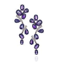 amethyst and diamond earrings   Amethyst and Diamond Pair of Earrings