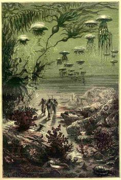 illustration from an early printing of 20,000 Leagues Under the Sea, Jules Verne.