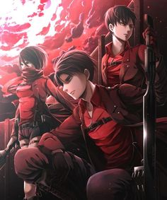 Rivaille (Levi) , Eren Jaeger and Mikasa Ackerman