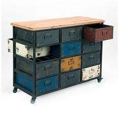 """Colorful drawers cabinet with metal iron handle. 12 drawers for storage. Contemporary industrial design. Part of Paintbox collection. Dimensions: 42""""W 17""""D 31""""H Product weight: 56lbs. Color: Multi. Assembly is not required. Made in China. We are offering 1 year limited warranty (covered for any manufacturer's defect) Construction: Fir Wood; Frame: Iron; We understand how important your home is and how decorating your kitchen, dining room or bedrooms with classy,..."""