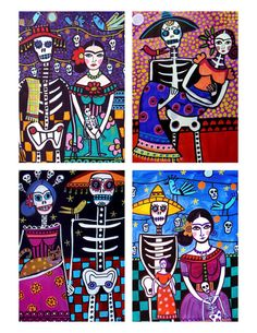 Mexican Folk Art Gift  Frida Kahlo Day of the by HeatherGallerArt, $80.00  #day_of_the_dead #art