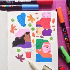 Looking for sketchbook inspiration? Here are spreads from artists and illustrators that will inspire you to pick up your pen. Sketchbook Drawings, Doodle Drawings, Cartoon Drawings, Doodle Art, Art Sketches, Monochrome, Learn To Sketch, Doodle Books, Artist Journal