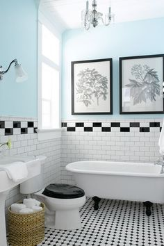 Small Bathroom Ideas: Black And White Small Bathroom With Vintage Claw Foot  Tub. Like How Blue Walls Add Punch Of Color To Black And White Tile Floor. Part 97