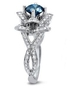 1.55ct Blue Round Diamond Lotus Flower Engagement Ring 14k White Gold / Front Jewelers
