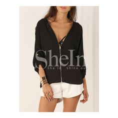 SheIn(sheinside) Black Long Sleeve V Neck Zipper Blouse (€13) ❤ liked on Polyvore featuring tops, blouses, black, zipper blouse, black top, zipper top, v neck blouse and zip blouse