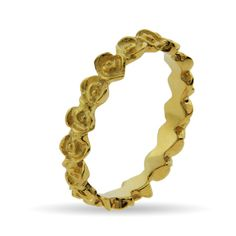 Stackable Reflections Gold Vermeil Band of Roses Stackable Ring $26