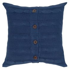 Knitted Decorative Pillow, 18 x 18-inch, Navy Blue