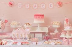 Pretty little girl party dessert table