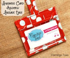 Business Card Holder/Luggage Tags via LeFevre {Flamingo Toes} - Great gift idea! Sewing Hacks, Sewing Tutorials, Sewing Crafts, Sewing Projects, Sewing Patterns, Business Card Holders, Business Cards, Costura Diy, Creation Couture