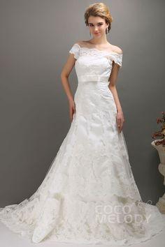 Delicate A-Line Off The Shoulder Chapel Train Lace Wedding Dress CWXT1301D#Cocomelody#weddingdresses#bridalgown#