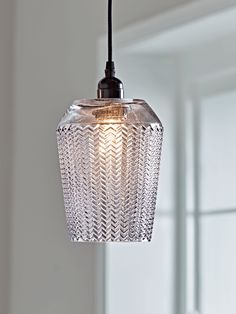 NEW Tall Chevron Textured Pendant - Grey - Pendant Lighting - Ceiling Lights - Lighting Glass Pendant Light, Ceiling Pendant, Glass Pendants, Pendant Lighting, Ceiling Lights, Round Pendant, Kitchen Pendants, Glass Ceiling, Globe Pendant
