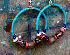 Hoop Earrings, Turquoise Earrings, African Jewelry, Beaded, Wood Earrings, Tribal Gypsy