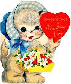 vintage Valentine's Day card cat