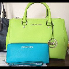 Want a chance to win this for $10??? Please comment if you'd like to be added to my fb group to play for a chance at winning this NWT pear sutton and NWOT teal wallet for only $10!!! Feel free to buy, sell, and trade in my group too  Michael Kors Bags Satchels