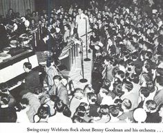 Benny Goodman and his orchestra perform for students at Mac Court May 1941.  From the 1941 Oregana (University of Oregon yearbook).  www.CampusAttic.com