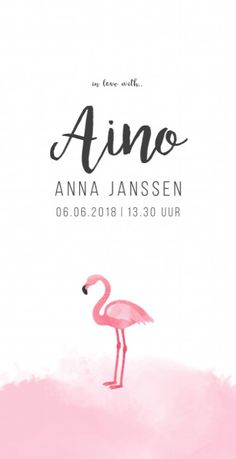 Trendy geboortekaartje voor een modern meisje met een roze waterverf vlek en een hippe geschilderde flamingo is mooi voor bijzondere meisjes! Flamingo, Movie Posters, Cards, Flamingo Bird, Film Poster, Flamingos, Film Posters, Greater Flamingo