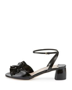 Miu Miu - Ruffled Patent 45mm Sandal Celebrity Shoes, Shoe Sites, Miu Miu Shoes, The Originals, Sandals, Celebrities, Fashion, Moda, Shoes Sandals