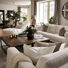 37 Awesome Rustic Farmhouse Living Room Decorating Ideas - An open family room and kitchen where the family eats is designed in a charming farmhouse style which makes it a warm and welcoming heart for the home. Living Room Decor Cozy, New Living Room, Living Room Interior, Home And Living, Modern Living, Neutral Living Rooms, Luxury Living, Living Room Ideas House, Living Room With Beige Couch