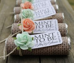 """Mint To Be"" – what a smart wedding favor ideas. To see more: http://www.modwedding.com/2014/05/12/unique-wedding-favors-ideas/"