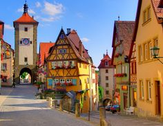 Rothenburg ob der Tauber, Germany.  This charming town is a time capsule of what a prosperous German city or town looked like at the height of the Hanseatic League.  Rothenberg was very badly damaged during World War II but has been totally restored.  Utterly charming place.