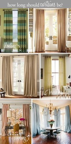 Guide to hanging curtains and how long curtains should be -- apparently I like the floating ones best