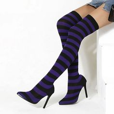 Over Knee Socks, Over The Knee Boots, Thigh High Boots, Ankle Boots, Stiletto Heels, High Heels, Knee Stretches, Heel Stretch, Purple Shoes