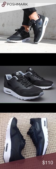 NWT! Nike Air Max 1 Ultra Essentials Sneakers 7 NWT! Nike Air Max 1 Ultra Essentials Sneakers 7.  The Nike Air Max 1 Ultra Essentials Women's Shoe features a leather and mesh upper and superb lightweight cushioning for optimal airflow and durable impact protection. Black and white color! Women's size 7, true to size. Have box bottom no top. Nike Shoes Sneakers