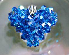 Hawaiian Blue Swarovski Crystal Heart Charm by HandmadeJILLry, $30.00