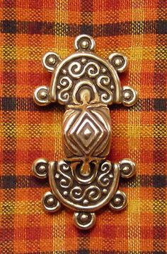 Anglo-Saxon Equal Arm Fibula -   Probably Scandinavian in origin, this style of fibula was in use by the Anglo-Saxons in England and Europe from 400 - 800 AD.  Just over 2 inches long. Available in bronze or sterling silver.