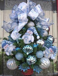 Christmas Wreath Let It Snow Snowman Blue