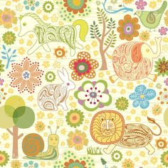 Seamless Floral Animals Pattern Royalty Free Cliparts, Vectors ...
