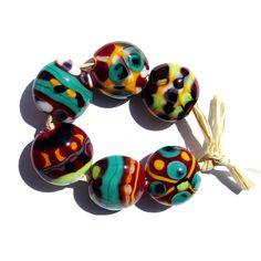 Handmade Lampwork Glass Beads Lentil Orange Red Green set of 6