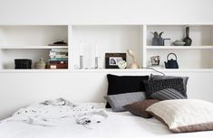 Recessed Bedroom Shelving in the Home of Tine K   Remodelista