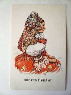 Vintage Postcard Head Coverings, Easter Pictures, Traditional Paintings, European Countries, Beautiful Patterns, Czech Republic, Celtic, Costumes, Bride