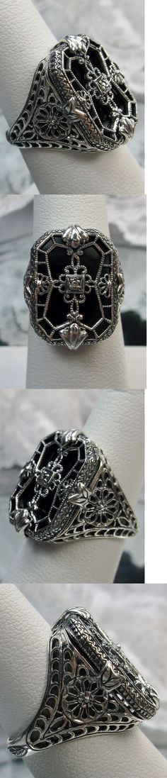 Other Fine Rings 177030: Black Glass Solid Sterling Silver 1930S Design Art Deco Filigree Ring Size 5 -> BUY IT NOW ONLY: $52 on eBay!