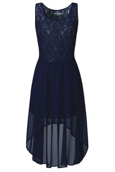 Navy Lace Skater Waterfall Dress
