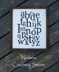 Rustic, Distressed, framed hand painted sign ABC's alphabet fixer upper inspired, classroom playroom nursery decor  wall art home decor by NelansCountryStore on Etsy