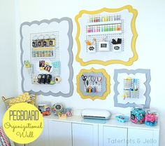 pegboard wall - perfect for craft room organization!
