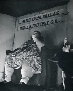 """Born in 1893, Alice Dunbar, nicknamed """"Alice from Dallas,"""" worked for Ringling Brothers and Barnum  Bailey for nearly 20 years.  Alice also exhibited at Coney Island, the Texas Centennial Exhibition in 1940  at the World's Fair Museum in 1943. Alice Julian, the successful fat lady married a circus tattoo artist, named Frank Julian. Happily married, they retired from show business in the mid-1940s. On November 25, 1955, the 62-year-old Alice from Dallas died in Dallas."""