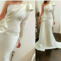 Elegant One Shoulder Mermaid Long Prom Dresses 2018 White Long Sleeves Prom Gowns Satin Ruched Ruffles Applique Sweep Train Elegant One Shoulder Mermaid Long Prom Dresses 2018 White Long Sleeves – chicmaxonline Prom Dresses Long With Sleeves, Prom Dresses 2018, Dress Long, Bridal Gowns, Wedding Gowns, Formal Wedding, Lace Wedding, Dream Wedding, Wedding Ideas