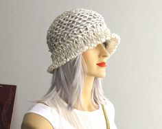 Vintage pale cream woven cellophane straw hat, open weave with turned up brim…