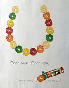 1959 Lifesavers Candy Ad ~ Good Luck, Good Lick Horseshoe