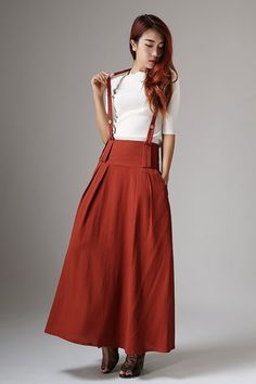Dark red skirt linen skirt maxi women skirt 1035 by xiaolizi