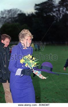 Princess Diana December 1990 at Sandringham Church Service on a windy Christmas Day - Stock Image