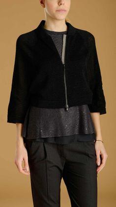 Black cotton short jumper featuring zip fastening closure, three quarter raglan sleeves, gemstone detail on the zip fastening, 100% cotton.